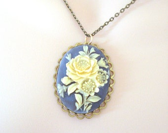 Vintage Blue Cameo, Floral Cameo Necklace, Large Cameo Pendant, Victorian Style, Long Layering Necklace