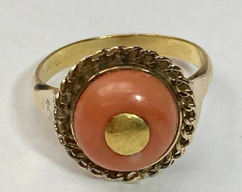 Victorian Coral and 10k Yellow Gold Round Ring