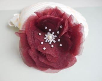 Burgundy hair flower, hair flower accessory Bridal Hairclip wedding flower clip, Bridesmaids flower girl, Bordeaux Wedding Hairpiece Wine