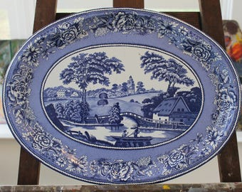 Vintage DAHER 20 x 15 Blue Willow Tray 1971 England