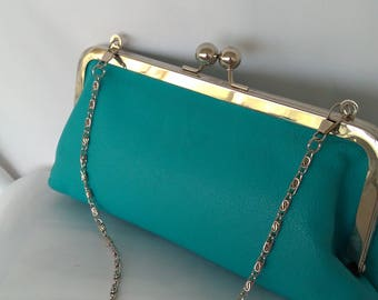 turquoise aqua leather rustic beach  wedding Bridesmaid gift evening make-up bag clutch purse BBsCustomClutches