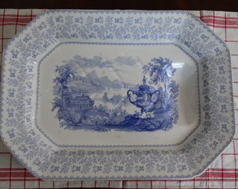 "CODE: MOVINGSALE 35% OFF Antique Ridgway, Morley and Wear ""Agricultural Vase"" Blue Staffordshire Platter Circa 1842. Made in England."