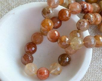 "Faceted Rutile Quartz Beads, 12mm Rutilated Quartz Beads, 12mm Beads, Natural Rutilated Quartz Gemstone, 7"" Strand, 16 Beads, TU16-1129D"