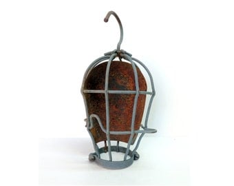 Vintage Trouble light Cage, Caged light cover, Industrial, Steampunk, Man cave, Rustic Decor, Assemblage, Upcycle