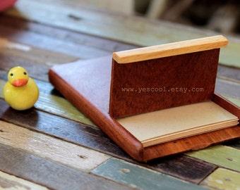Wooden Business Card Holder Wood Case Credit Card Slim Card Holder with Lock