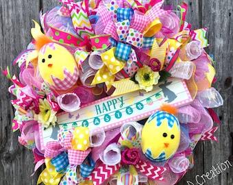 Easter Wreath, Easter Decor, Deco Mesh Easter Wreath, Easter Door, Happy Easter,  Easter Egg Wreath, Spring Wreath, Spring Decor