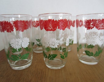 6 Vintage Swanky Swig Glasses/Juice Glasses/ Flowered Glasses/Red,Green,White Glasses/Small Glasses/Kitchen Ware