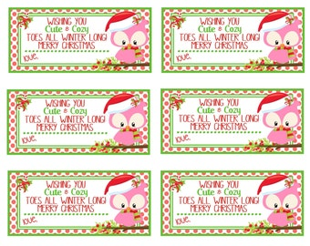 Printable Christmas Gift Tags  Cute And Cozy Toes  Instant Download  Pedicure Gift Tag