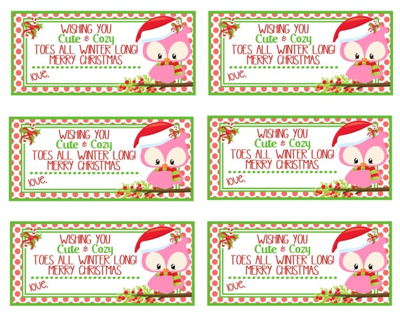 Cute Tags: Printable Christmas Gift Tags Cute And Cozy Toes Instant