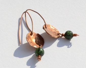 Hammered Copper and Zoisite Earrings