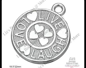 Live Laugh Love Charms, silver charms, 4 piece