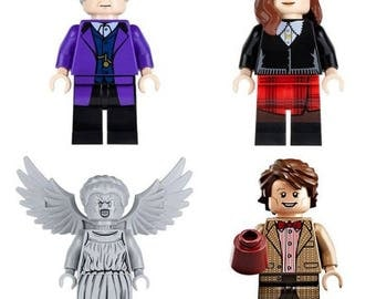 Lote de 4 Figuras Lego Doctor Who (DR Assistant, Doctor Who, The Weeping Angels) customized