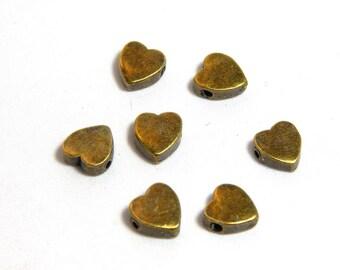 10 Bronze Heart Beads, 8x7.5mm Heart Beads, Tibetan Heart Beads Beads, Bronze Heart Beads, Small Heart Beads, Hearts for Bracelets, SC-69