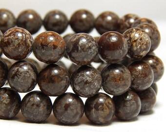 8mm Brown Snowflake Obsidian, 8mm Gemstones, Brown Gemstones, 8mm Brown Beads, Snowflake Obisidan, 8mm Beads, Full Strand, B-25D