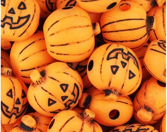 24 Orange Antiqued 20mm Jack O Lantern Pumpkin Halloween Themed Pony Beads