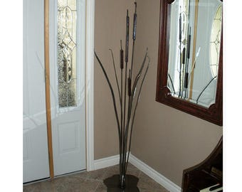 Hand crafted metal cattail, Bulrush,