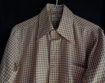 Vintage shirt Jules Gillette houndstooth check brown and cream  15 1/2