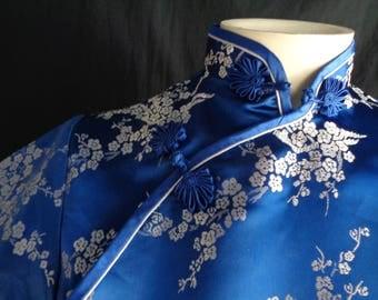 Vintage Cheongsam Chinese dress blue small