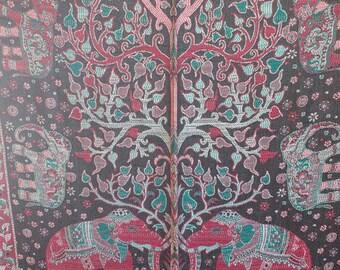 Elephant Ebony Emerald Green Berry Red Art Silk Shawl Hanging