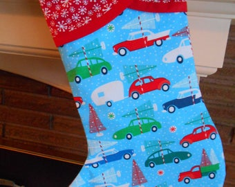 Christmas Stocking with Vintage Trailers & Classic Cars Print