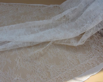 "Hight quality ivory lace Fabric ,off White Chantilly Lace fabric  for wedding 59"" width"