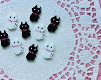 Kawaii kitty cabochons - 4pcs decoden cabochons