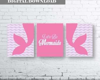 Mermaid Wall Art Print. Set of Three (3)-Instant Download. Let's Be Mermaids. Sister Bedroom Print.Sisters Bedroom Art.Mermaid Room Prints
