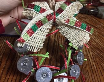 Wreath shotgun shell ornaments lime green/red