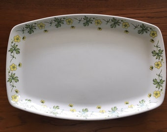 Vintage Figgjo Flint of Norway platter with yellow floral design