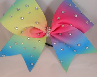 Cheer Bow Rainbow Ombre w Rhinestones by BlingItOnCheerBowz