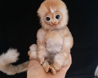 FOR SALE~ Baby marmoset monkey poseable Art doll.