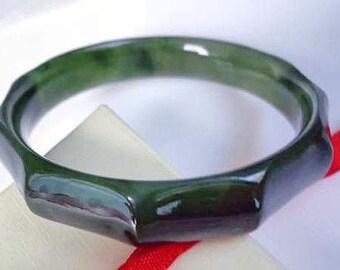 59 mm Nephrite jade bamboo bangle bracelet. SR215