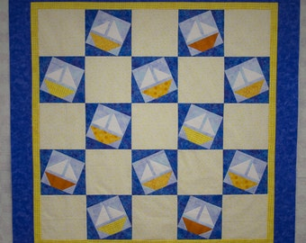 Sailboat Quilt Top 49.5in x 49.5 inches Boys Quilt