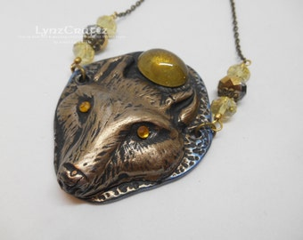 The Golden Wolf yellow & gold polymer clay and resin jewelry pendant necklace handmade One of a Kind