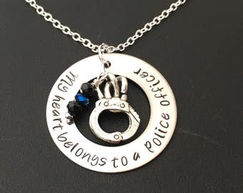 My Heart Belongs to a Police Officer Hand-Stamped Washer Necklace with Handcuff Charm and Birthstone Crystals