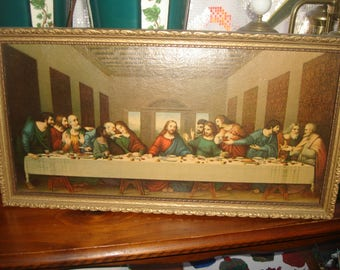 SUMMER CLEARNCE SALE antique last supper print in goldleaf wood frame/ jesus and12 apostles / religious framed print