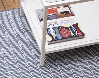 Scandinavian patterned blue floor runner & rug