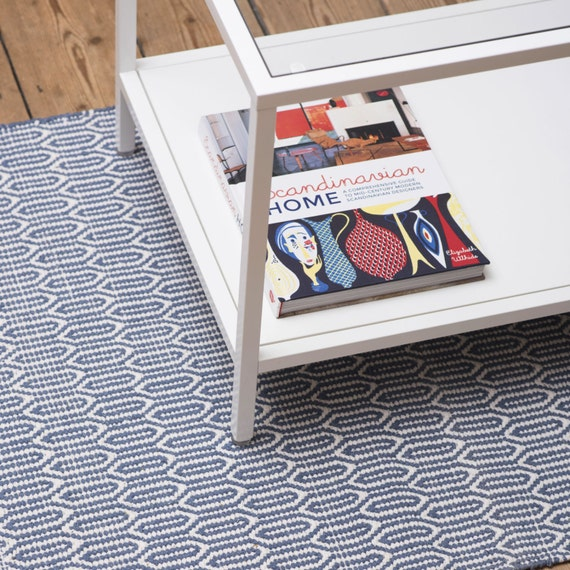 Blue And White Scandinavian Rug: Scandinavian Patterned Blue Floor Runner & Rug
