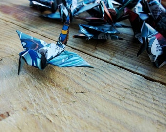 Origami Paper Cranes 50 Comic Book Page Folded Paper Birds Recycled Comic Book Small Paper Bird Comic book Origami Wedding Decoration