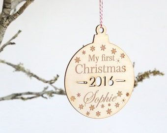 Personalised First Christmas Wooden Christmas tree decoration- 1st xmas Wooden wood ornament custom made timber wood xmas decoration