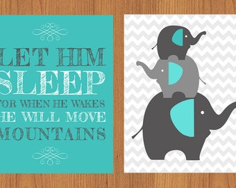 Let Him Sleep For When He Wakes Stacked Elephants Family Nursery Wall Art Blue and Grey Chevron Set of Two (2)