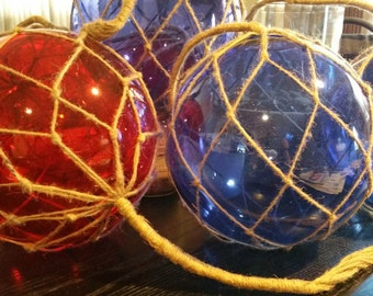 """12"""" Nautical Glass Float, Colored Floats, Glass Float, Nautical Float, Nautical Decor, Glass Floats, Rope Wrapped Floats, Nautical, Decor"""