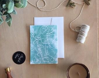Teal Wash Bridal Card with Envelope
