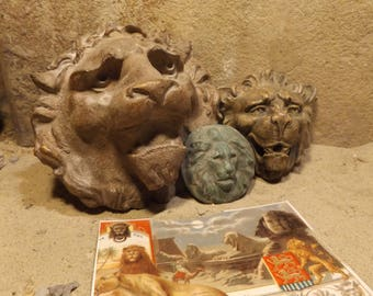 Lion wall statues - Venetian + Medieval Gargoyle style. Gothic Architectural details