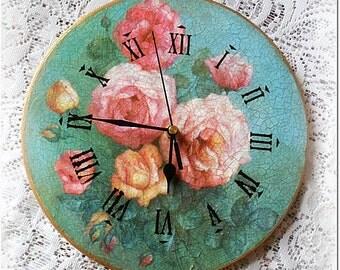 OOAK Wall clock , vintage style clock , vintage roses , decoupage clock
