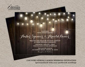 Rustic Country Western String Lights Wedding Invitation | Diy Printable Ranch Wedding Invitations With Fairy Lights On Brown Barn Wood