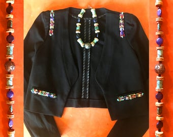 GILDED-MANE Black Ponte Jacket w/ Embroidered & Turquoise Bead Trim