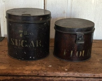 Sugar 7 lbs. and Flour 3 lbs. Primitive Metal Canisters