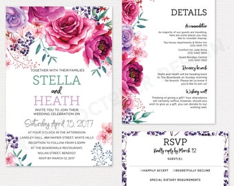 Peony and rose wedding invitation suite | digital download