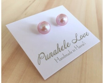 READY TO SHIP - Edison Pearl Studs - Pink Pearl Studs - Edison Pearl Stud Earrings - Pink Pearl Stud Earrings - Pearl Stud Earrings - Studs